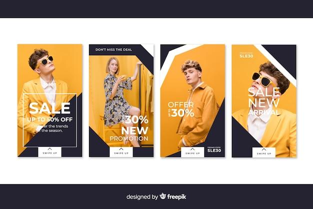 Abstracte mode verkoop instagram verhalen Gratis Vector