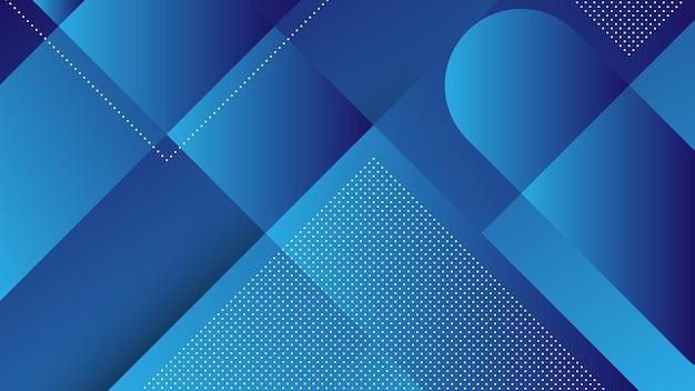 Abstracte moderne achtergrond met diagonale lijnen en memphis-element en blauwe levendige kleurverloop Premium Vector