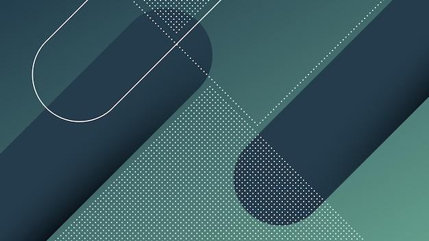 Abstracte moderne achtergrond met diagonale lijnen en memphis-element en donkerblauwe levendige kleurverloop Premium Vector