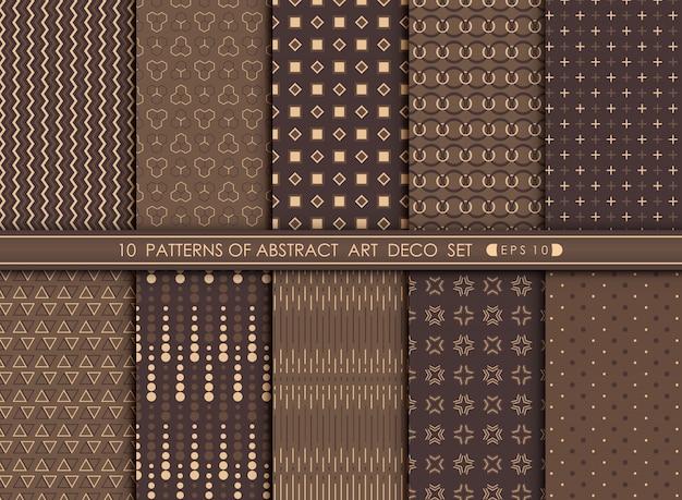 Abstracte moderne antiek van het ontwerpreeks van het art decopatroon. Premium Vector