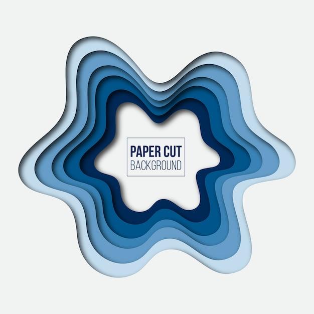 Abstracte moderne blauwe papier gesneden achtergrond Premium Vector