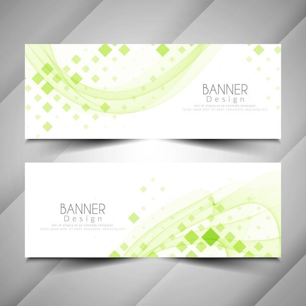 Abstracte moderne elegante banners ontwerpset Gratis Vector