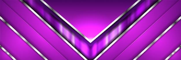 Abstracte moderne geometrische paarse metalen 3d banner Premium Vector
