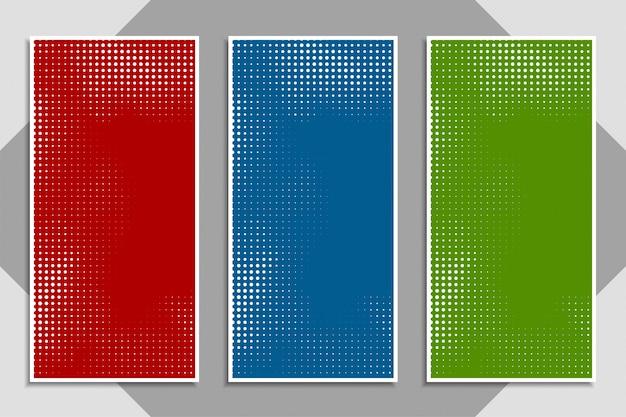 Abstracte moderne kleurrijke halftone bannerreeks Gratis Vector