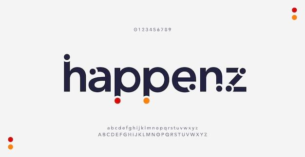 Abstracte moderne minimale alfabet lettertypen. typografie stedelijke stijl voor plezier, sport, technologie, mode, digitaal, toekomstig creatief logolettertype. Premium Vector