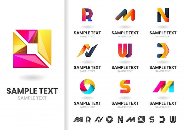 Abstracte moderne vorm logo set Premium Vector