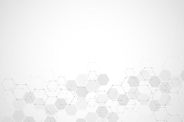 Abstracte moleculaire structuur en chemische elementenachtergrond Premium Vector