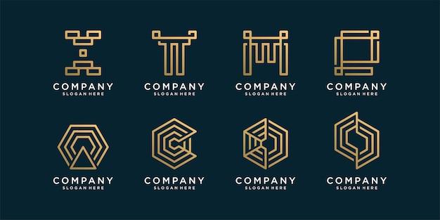 Abstracte monogram logo-collectie met gouden lijnstijl Premium Vector