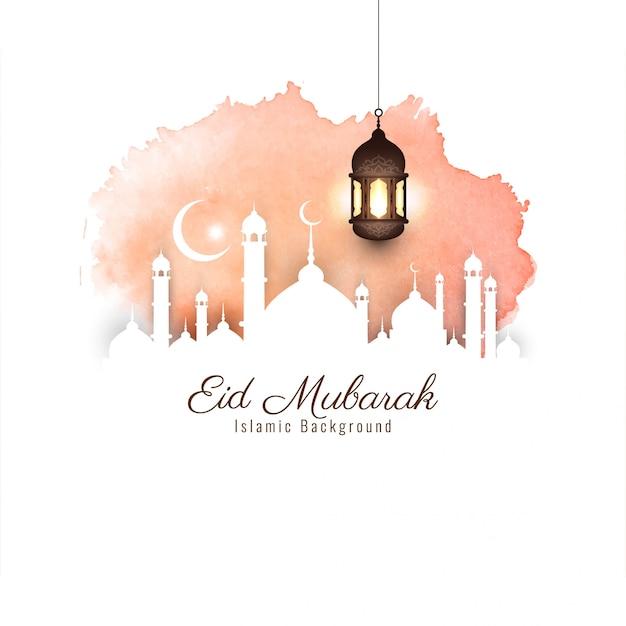 Abstracte mooie eid mubarak religieuze achtergrond Gratis Vector