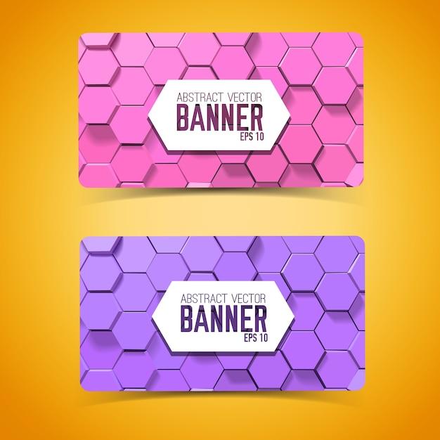 Abstracte mozaïek geometrische horizontale banners met paarse en roze zeshoeken Gratis Vector