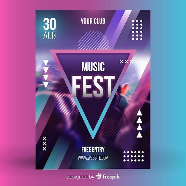 Abstracte muziek festival poster met foto Gratis Vector