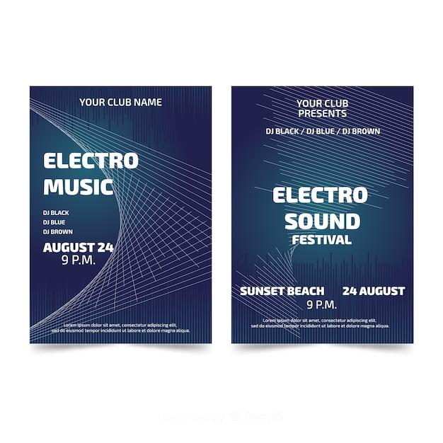 Abstracte muziek festival poster sjablonen Gratis Vector