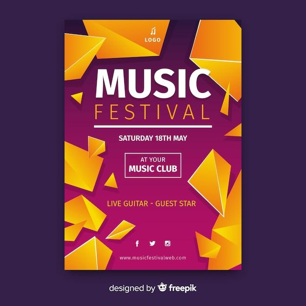 Abstracte muziek festival poster sjabloon Gratis Vector