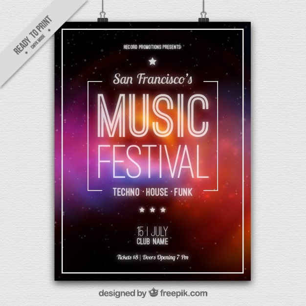 Abstracte muziek festival poster Gratis Vector