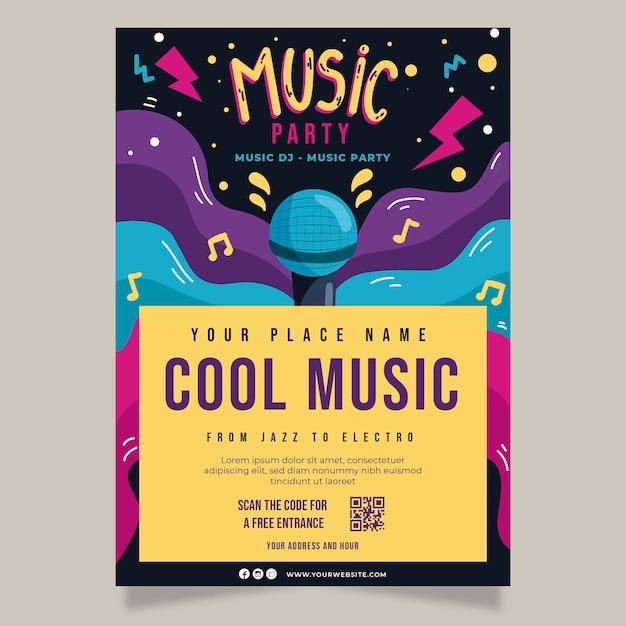 Abstracte muziek partij poster met microfoon Gratis Vector