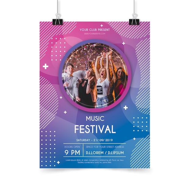 Abstracte muziek poster poster sjabloon Gratis Vector