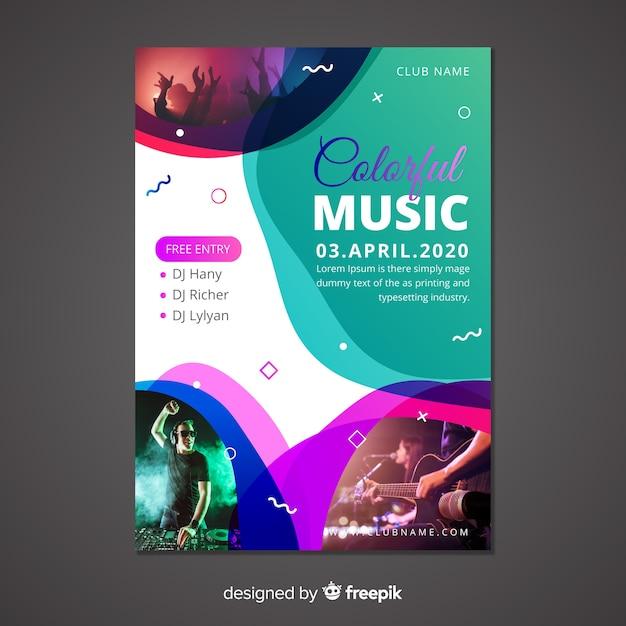 Abstracte muziek poster sjabloon met foto Gratis Vector