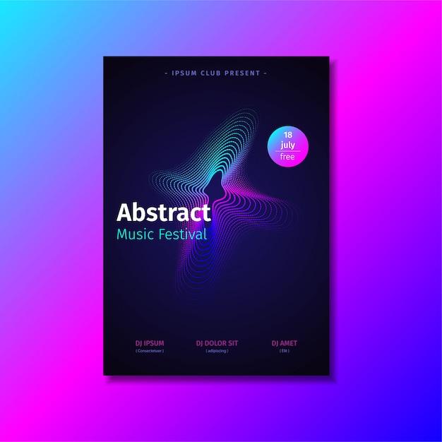Abstracte muziek poster sjabloon met verloop vorm. Premium Vector