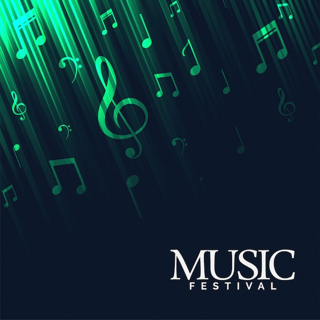 Abstracte muziekachtergrond met groene neonlichten Gratis Vector