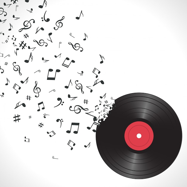 Abstracte muziekachtergrond met nota's en vinyl Premium Vector