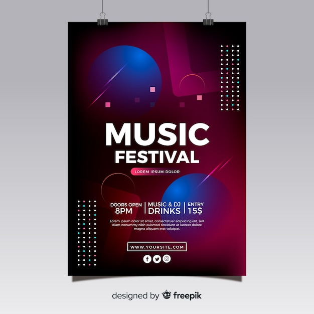 Abstracte muziekfestivalaffiche Gratis Vector
