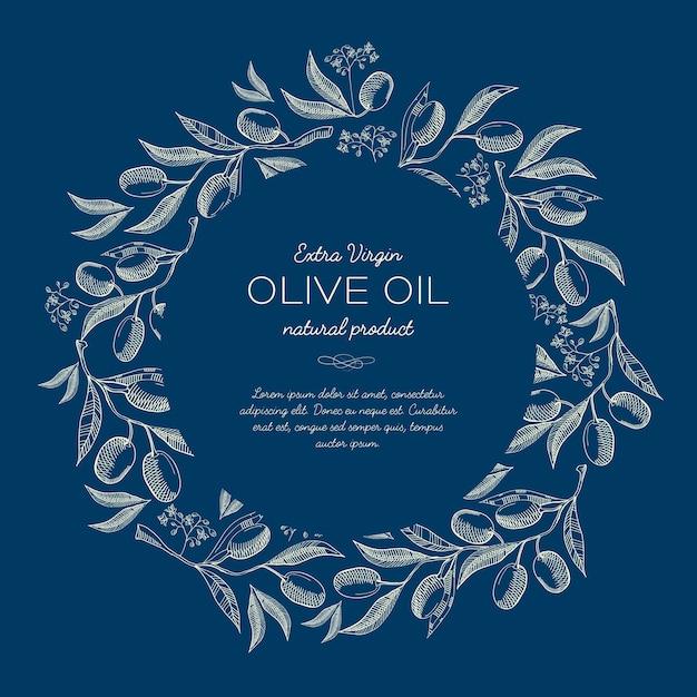 Abstracte natuurlijke schets blauwe poster met ronde krans van olijven boomtakken en tekst Gratis Vector