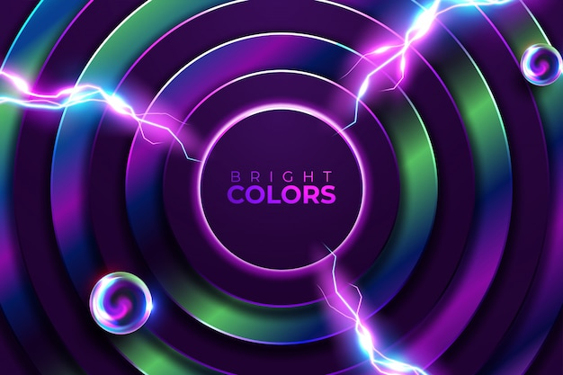 Abstracte neon achtergrond. glans rond frame met licht cirkels lichteffect. Premium Vector