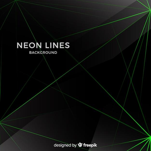 Abstracte neon lijnen donkere achtergrond Gratis Vector