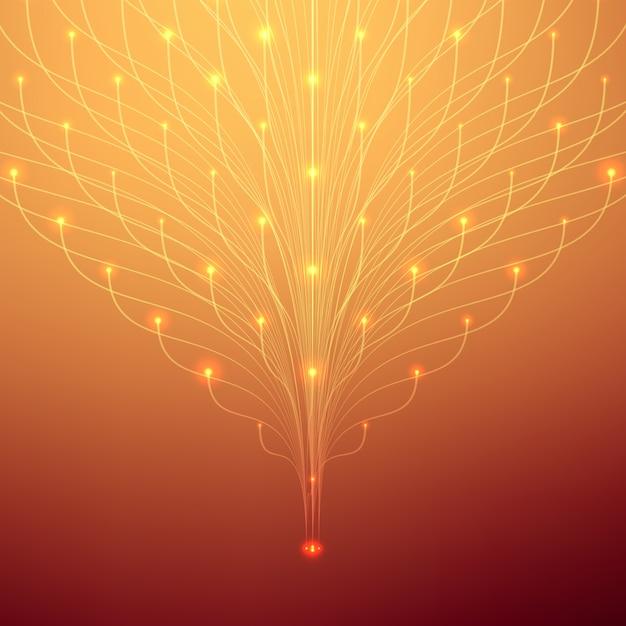Abstracte netwerkachtergrond. bioluminescentie van tentakels. futuristische stijlkaart. Gratis Vector