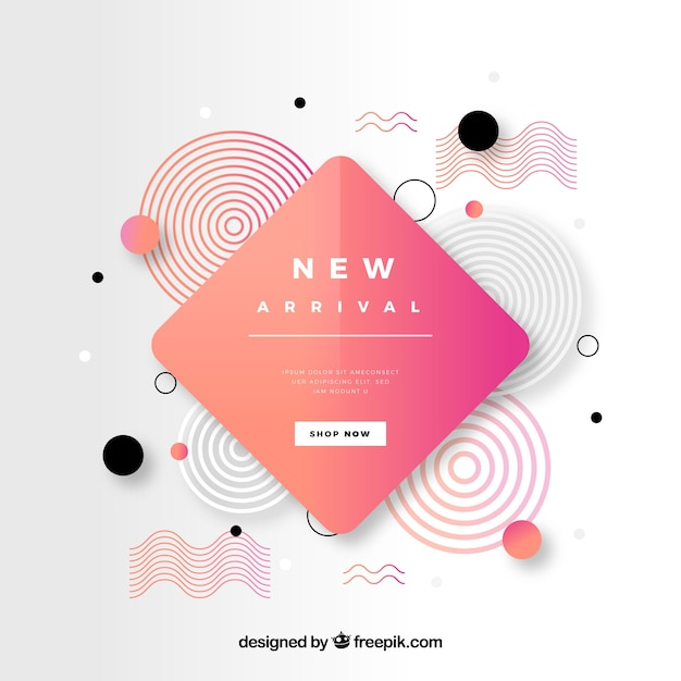 Abstracte nieuwe aankomstsamenstelling met vlak ontwerp Gratis Vector