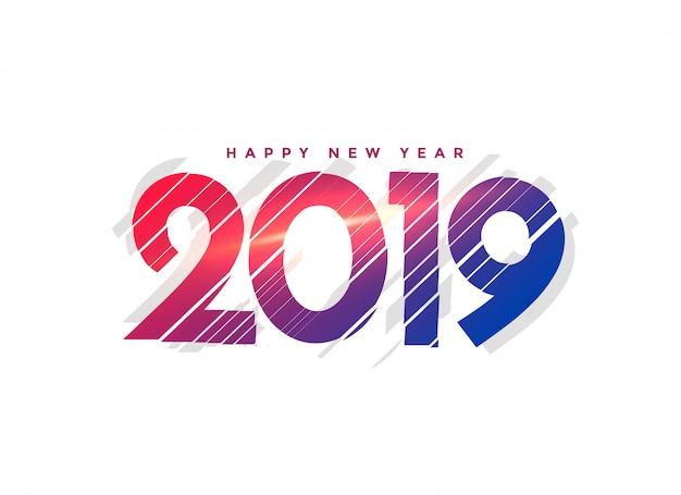 Abstracte nieuwe jaar 2019 creatieve belettering Gratis Vector