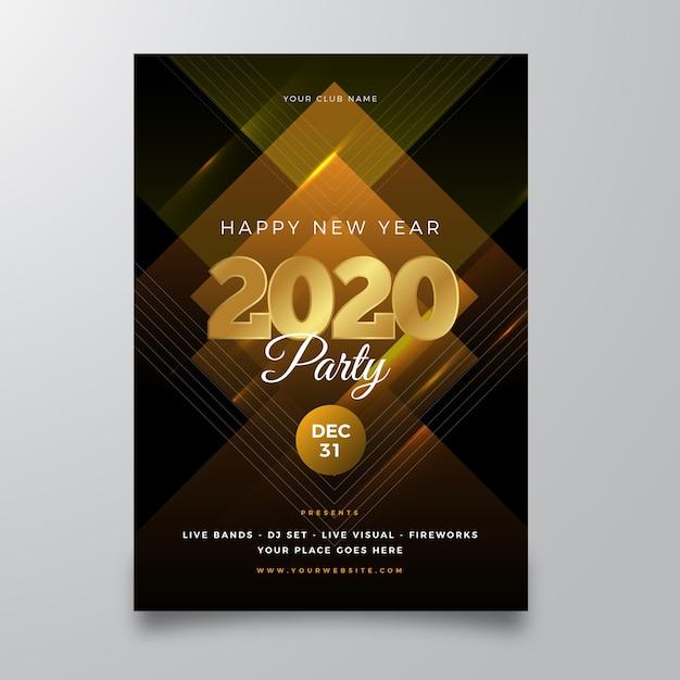 Abstracte nieuwe jaar 2020 partij poster sjabloon Gratis Vector