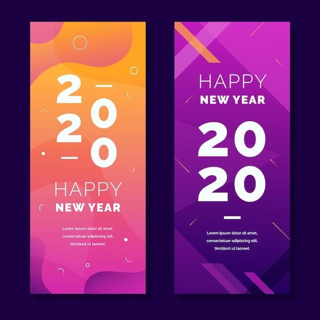 Abstracte nieuwe jaar 2020 partijbanners met gradiënt Gratis Vector