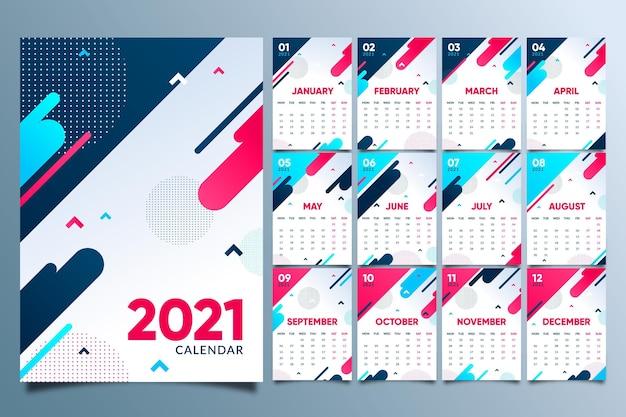 Abstracte nieuwe jaarkalender 2021 Premium Vector