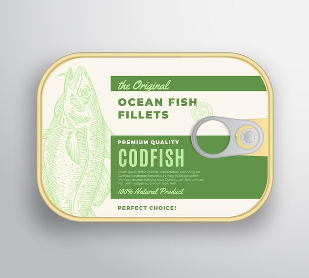 Abstracte oceaanvisfilets aluminium container met labelafdekking. premium ingeblikte verpakking. Gratis Vector