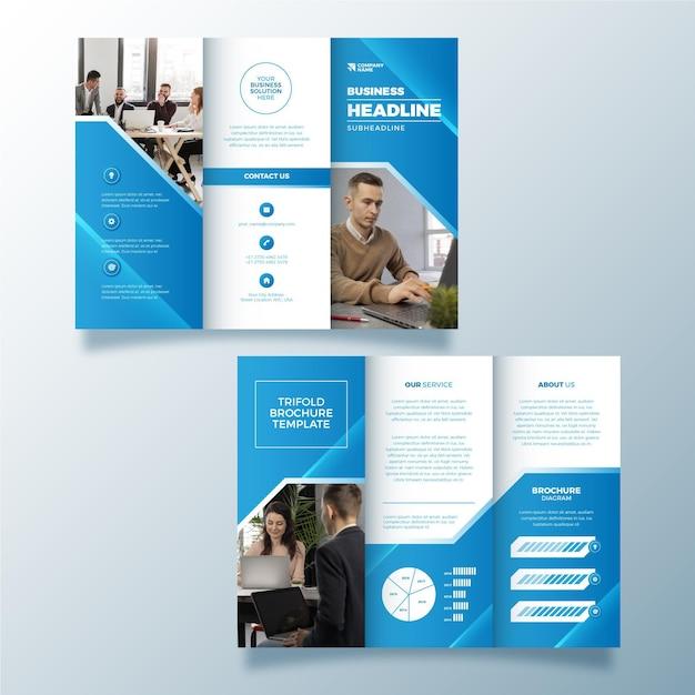 Abstracte ontwerp driebladige brochure met foto Gratis Vector