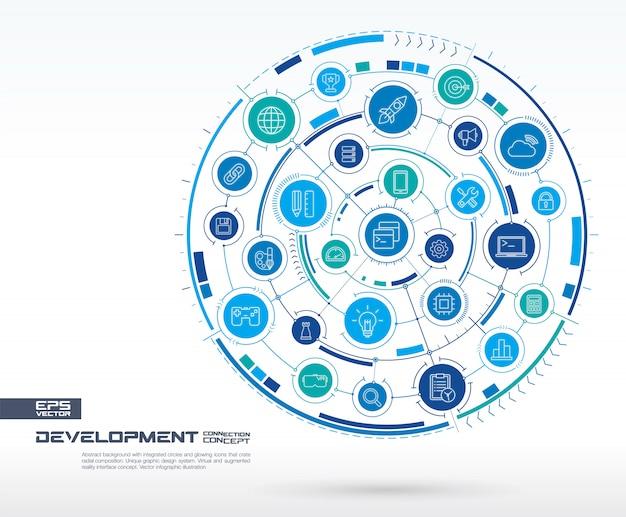 Abstracte ontwikkeling, achtergrond programmeren. digitaal verbindingssysteem met geïntegreerde cirkels, gloeiende lijnpictogrammen. netwerksysteemgroep, interfaceconcept. toekomstige infographic illustratie Premium Vector