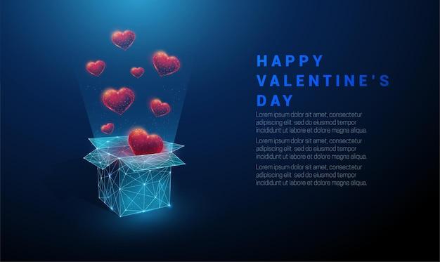 Abstracte open geschenkdoos en vliegende rode harten. happy valentijnsdag kaart. laag poly-stijl ontwerp. geometrische achtergrond wireframe lichte verbindingsstructuur modern 3d concept Premium Vector
