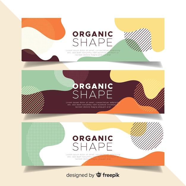Abstracte organische vormenbanners Gratis Vector