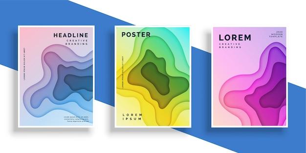 Abstracte papier gesneden flyer poster set Gratis Vector