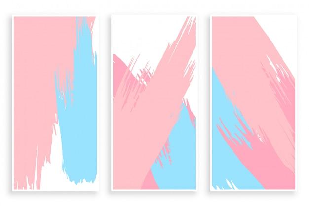 Abstracte pastel verf penseelstreek banners instellen Gratis Vector