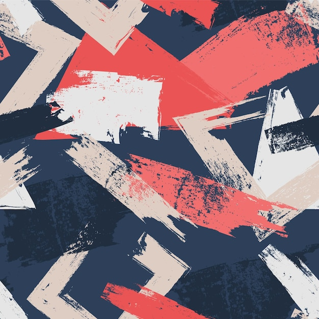 Abstracte penseelstreken in verschillende kleuren patroon Gratis Vector