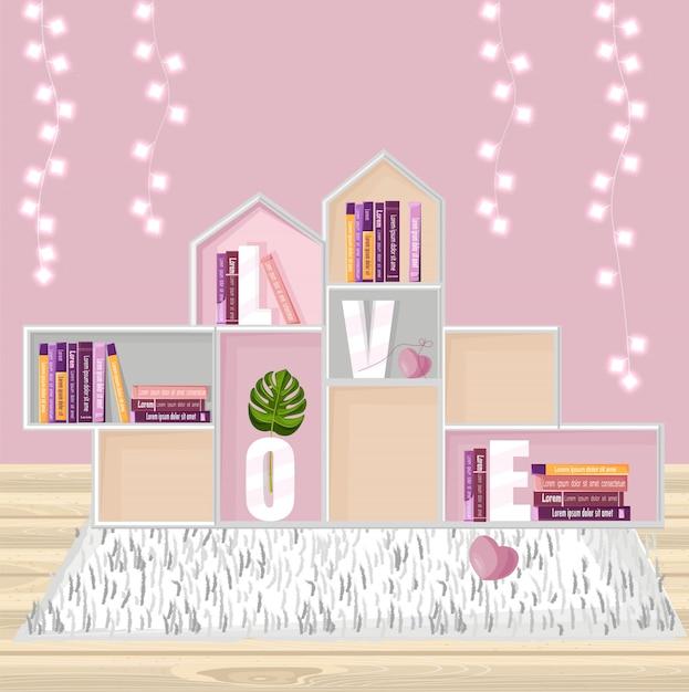 Abstracte planken voor boeken decor Premium Vector