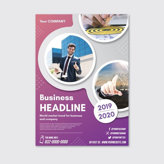 Abstracte poster met foto's voor het bedrijfsleven Gratis Vector