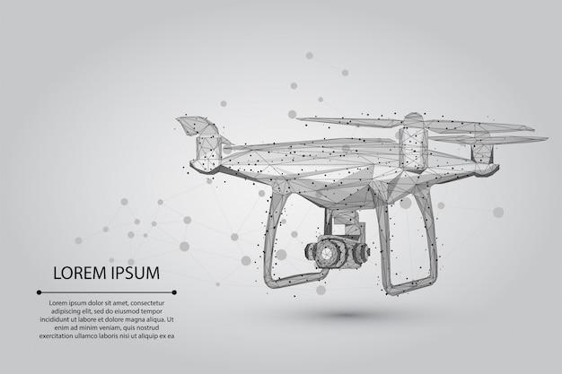 Abstracte puree lijn en punt quadrocopter veelhoekige laag poly 3d vliegende drone Premium Vector