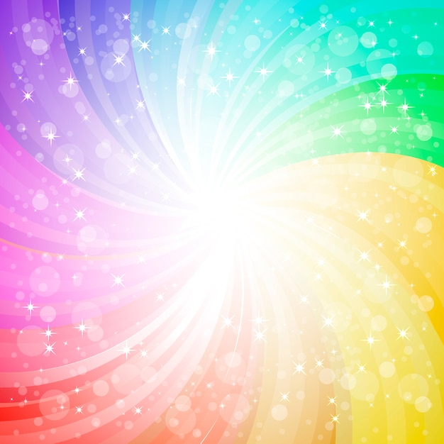 Abstracte regenboogachtergrond met vonken en glansachtergrond Premium Vector
