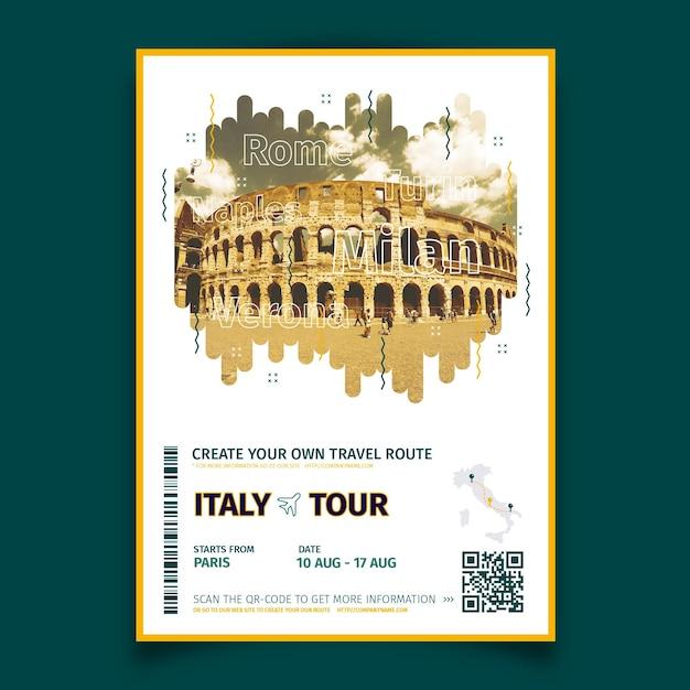 Abstracte reizende poster met foto van italië Gratis Vector