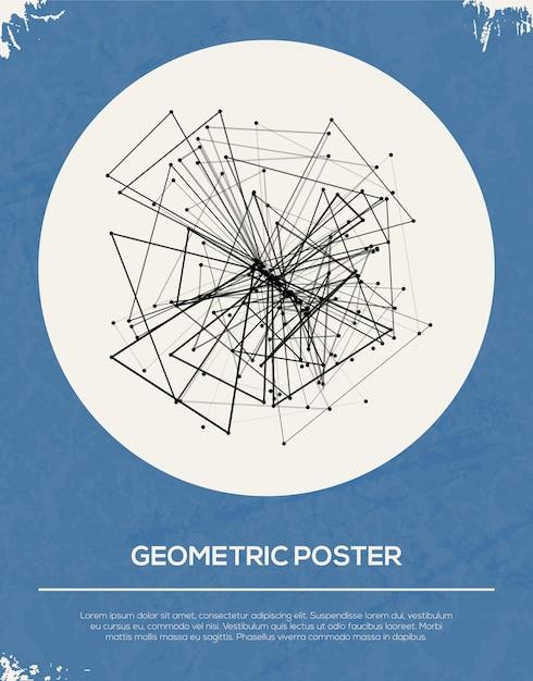 Abstracte retro geometrische poster sjabloon. Premium Vector