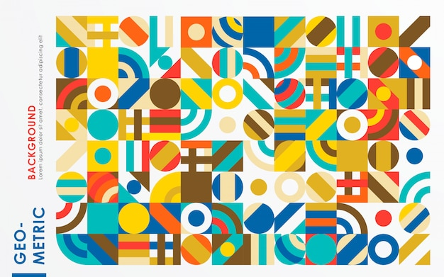 Abstracte retro geometrische vormachtergrond Premium Vector