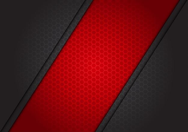 Abstracte rode bannerschuine streep op donkergrijze hexagon netwerkachtergrond. Premium Vector